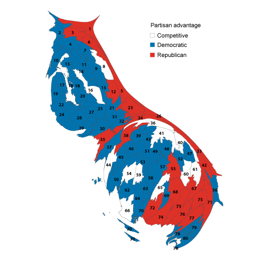 Figure 2. Democratic strength in the state becomes clearer with population-based map