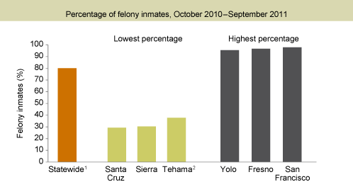 Figure 3. Felons make up the majority of the jail population in most counties
