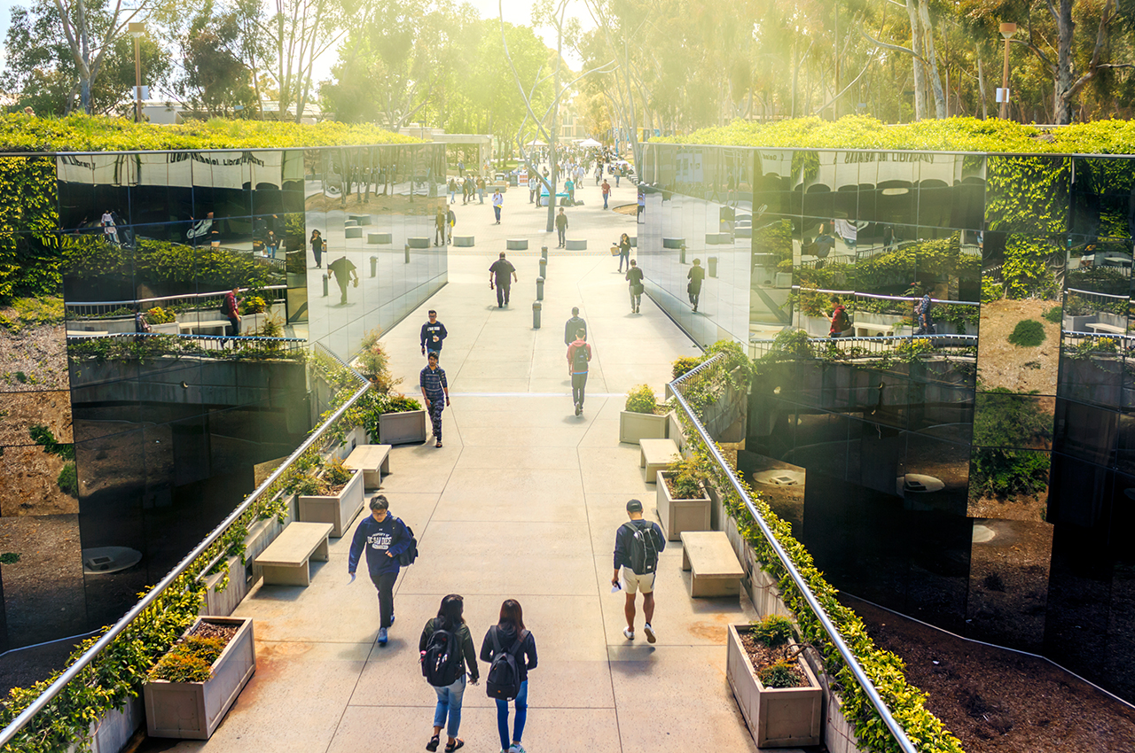 photo of students walking on UCSD campus